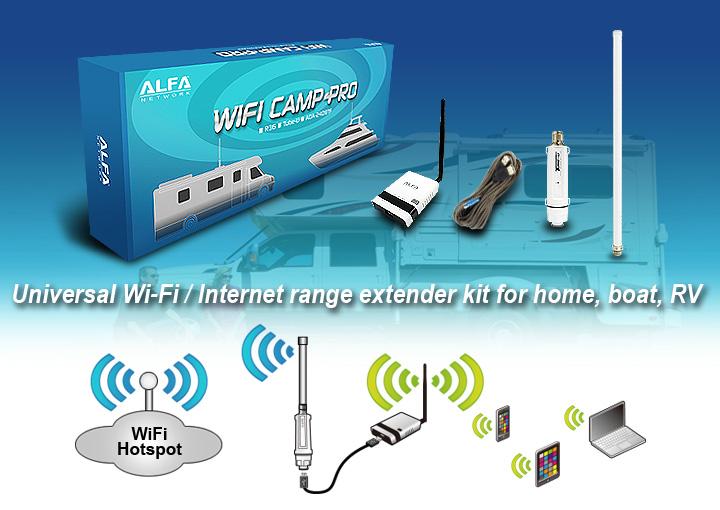 Alfa WiFi Camp Pro long range WiFi repeater kit  R36/Tube-(U)N/AOA-2409-TF-Antenna