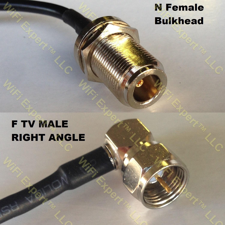 Rg n female bulkhead to f male angle coaxial rf pigtail