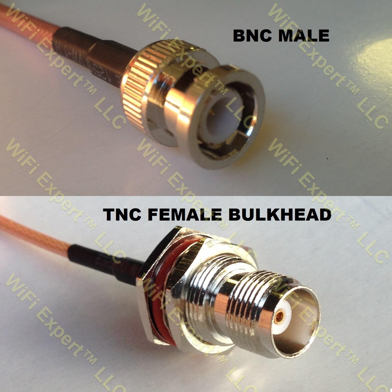 RG58 BNC MALE to TNC FEMALE BULKHEAD Coaxial RF Pigtail Cable – RF ...