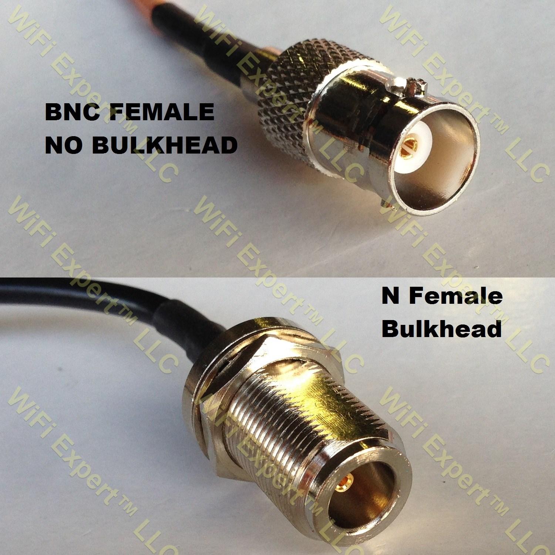 Rg bnc female to n bulkhead coaxial rf pigtail