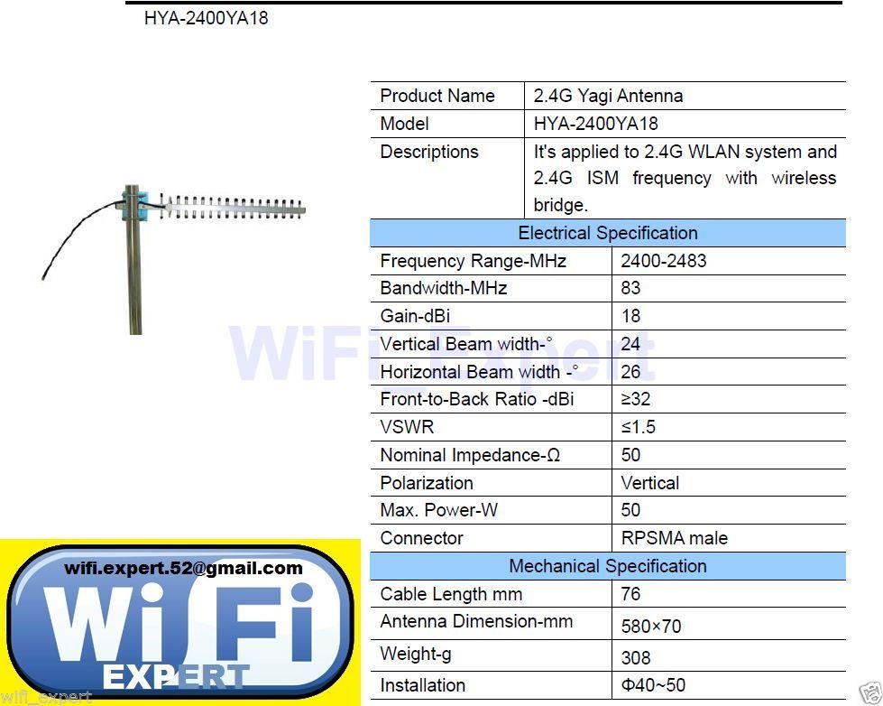 18dbi Yagi Wifi Antenna Rp Sma Long Rnge High Gain Booster